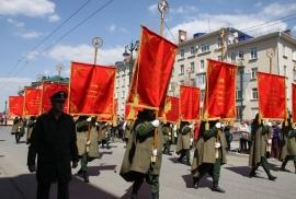 Омские борцы приняли участие в шествии Бессмертного Полка